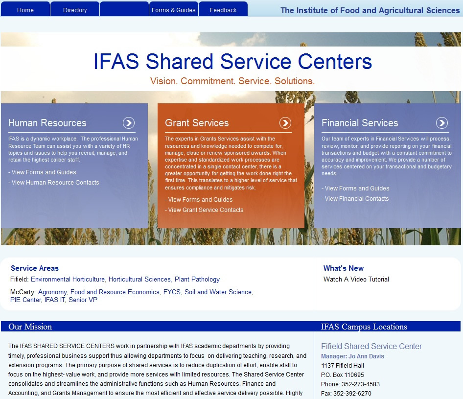 Ifas shared service center web page picture