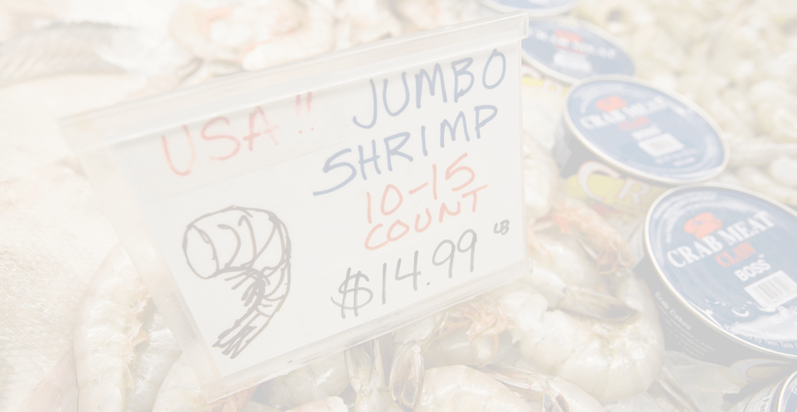 shrimp with price sign